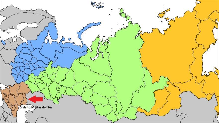 Un mapa que muestra los diferentes distritos militares de Rusia.