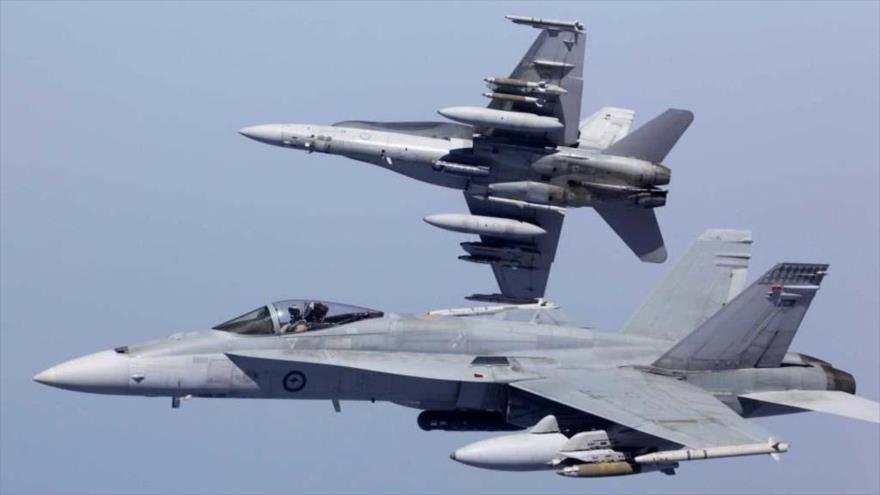 Aviones de combate estadounidenses modelo Boeing F/A-18 Hornet.