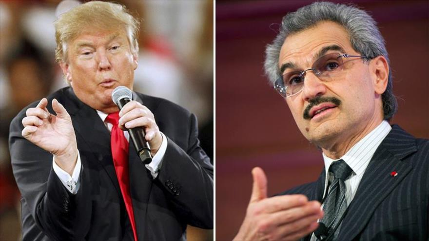 Multimillonaorio principe saudí, Al-Waleed bin Talal (dcha.), y candidato republicano a la Presidencia de Estados Unidos, Donald Trump.